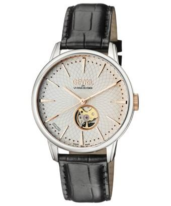 Gevril Mulberry Stainless Steel, Black Croco, Leather Strap In Pink