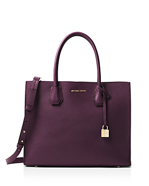 Michael Michael Kors Studio Mercer Convertible Large Leather Tote In Damson Purple/gold