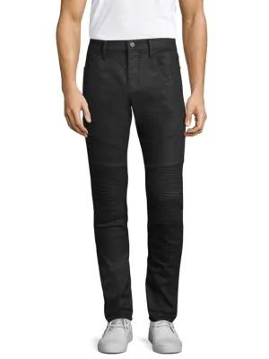 J Brand Bearden Moto Skinny Jeans In Dark Charcoal