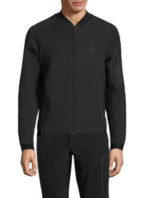 J. Lindeberg Active Zip Front Athletic Jacket In Dark Grey