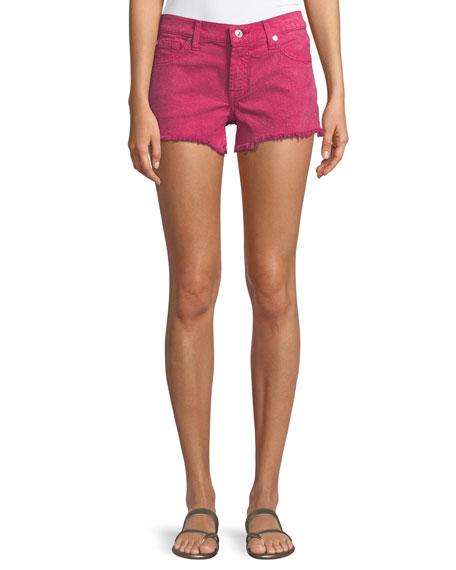 7 For All Mankind Cutoff Denim Shorts In Raspberry Sorbet In Purple