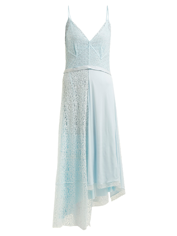 Balenciaga Asymmetric Tie-waist Lace Slip Dress In Light Blue