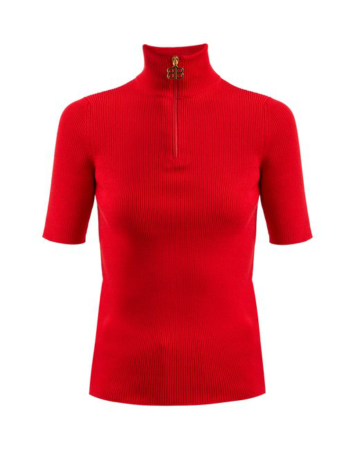 Balenciaga High-neck Ribbed-knit Cotton-blend Top In Red