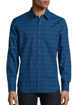 Robert Graham Dev Micro Printed Shirt In Navy