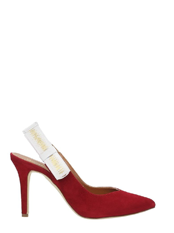 Via Roma 15 Red Suede Pumps