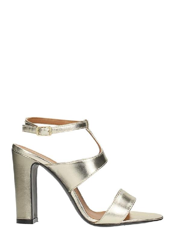 Via Roma 15 T-strap Laminated Platinum Sandals