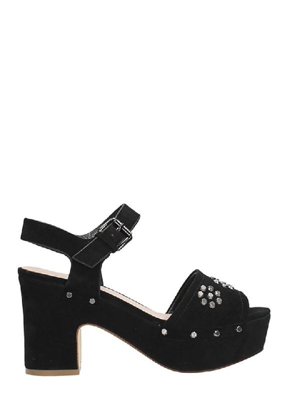Julie Dee Platform Black Suede Sandals