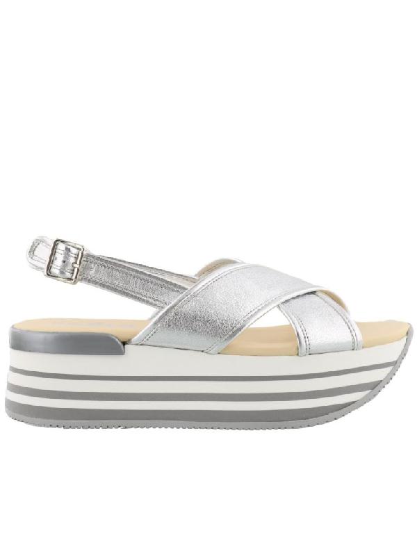 Hogan H249 Sandals In Silver
