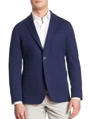 Saks Fifth Avenue Collection Knit Checkered Jacket In Navy