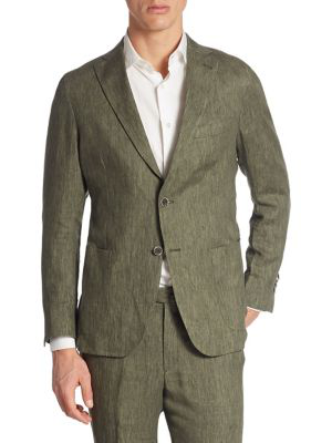Saks Fifth Avenue Collection Garment-washed Linen Suit Jacket In Olive Green