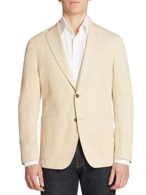 Saks Fifth Avenue Collection Piquet Single-breasted Blazer In Beige