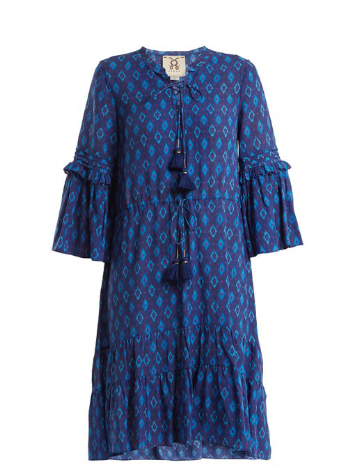 Figue Poet Ruffle-trimmed Cotton-blend Dress In Blue Multi