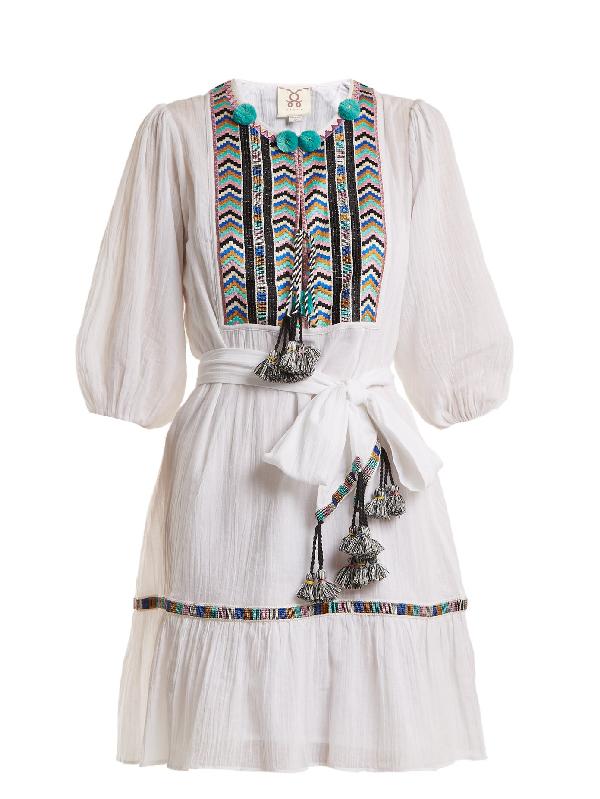 Figue Svana Geometric-embroidered Cotton Dress In White Multi