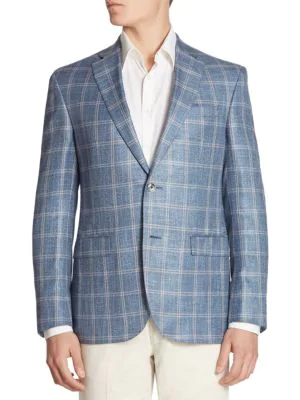Saks Fifth Avenue Collection Oversized Plaid Silk Blend Jacket In Teal
