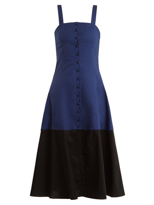 Staud Dusk Cotton-blend Dress In Blue