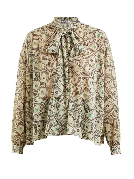 Balenciaga Dollar-print Tie-neck Blouse In Green Print