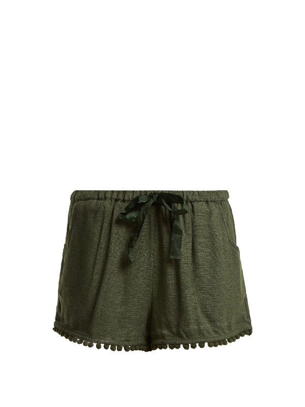 Figue Maja Tassel-hem Silk-blend Shorts In Khaki