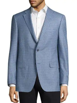 Saks Fifth Avenue Collection By Samuelsohn Classic-fit  Gingham Wool Sportcoat In Blue
