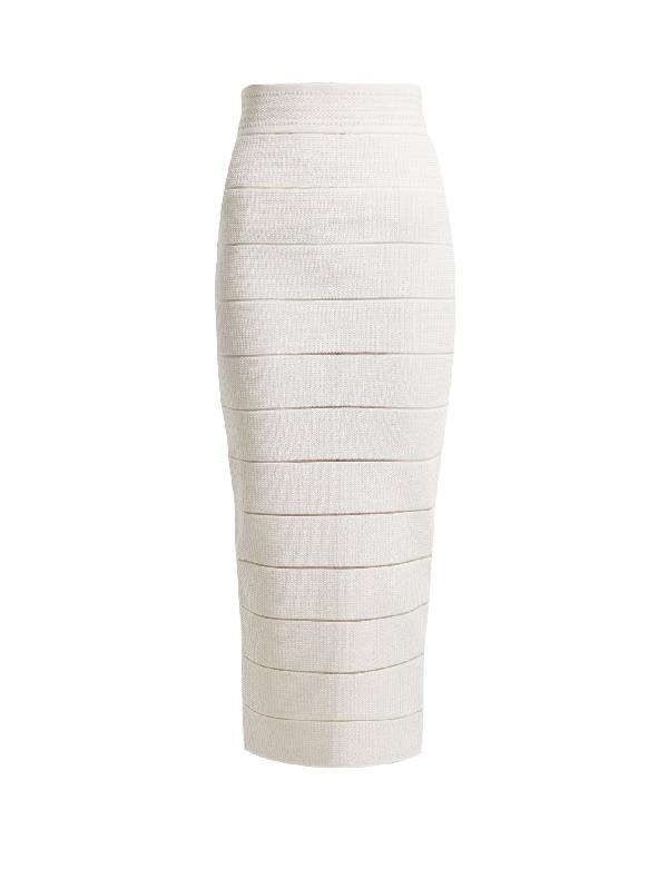 Balmain Striped Stretch-knit Midi Skirt In White