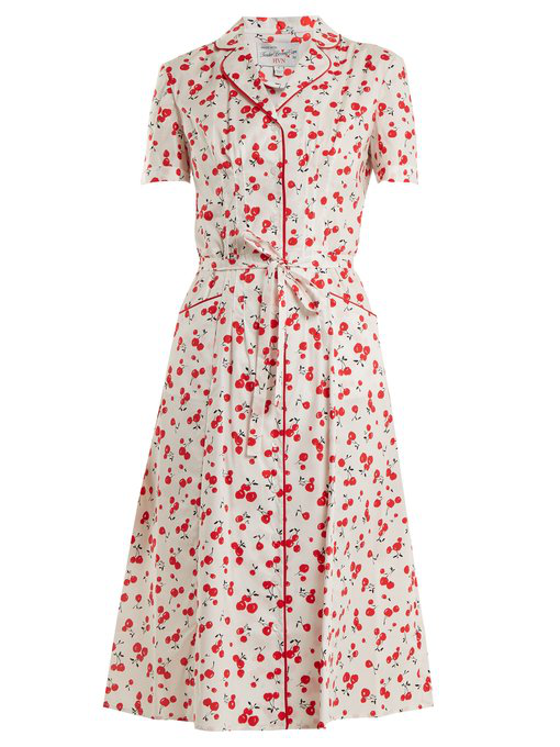 Hvn Maria Cherry-print Cotton-blend Dress In White Print