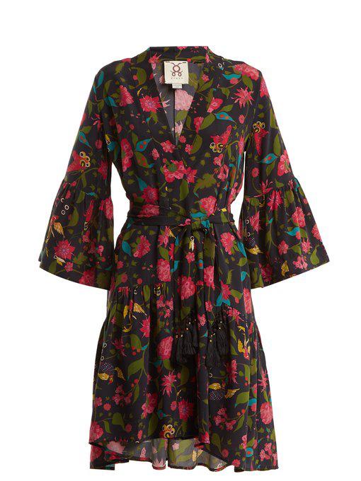 Figue Caroline Floral-print Silk Wrap Dress In Black Multi