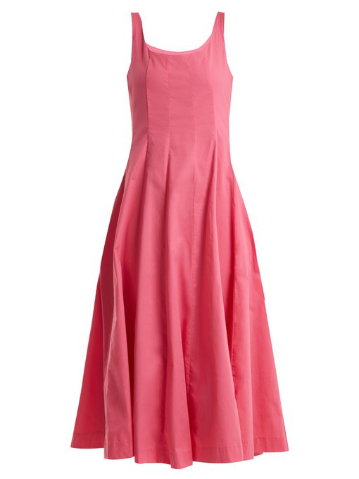 Staud Wells Cotton-blend Dress In Pink