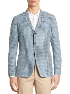 Saks Fifth Avenue Collection Slim-fit Hatch Stitch Plaid Sportcoat In Teal