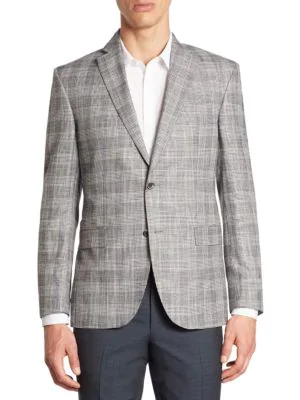 Saks Fifth Avenue Collection Multi Plaid Bamboo Jacket In Black