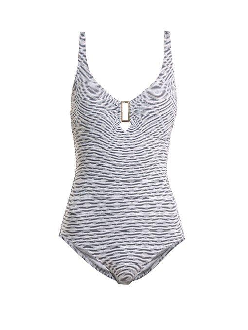 Melissa Odabash Tuscany Diamond-jacquard Swimsuit In Navy White