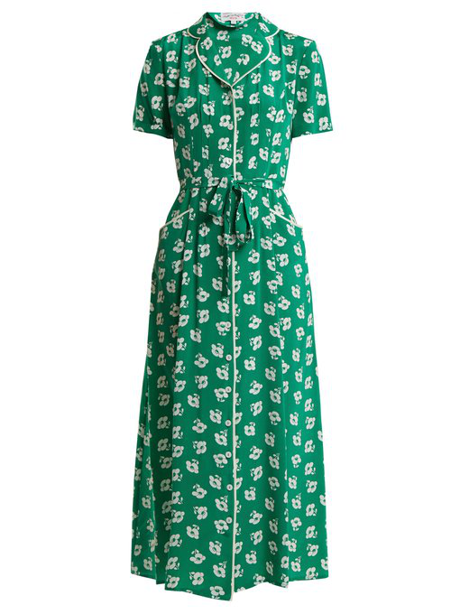Hvn Maria Floral-print Button-down Silk Dress In Emerald-green