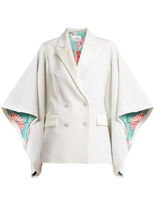 Racil Kyoto Kimono-sleeved Double-breasted Wool Jacket In Ivory