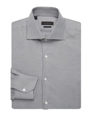 Saks Fifth Avenue Collection Printed Cotton Dress Shirt In Black White