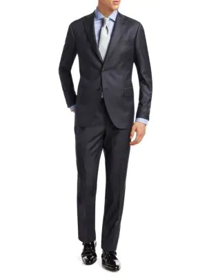 Saks Fifth Avenue Collection Striped Wool Suit In Grey