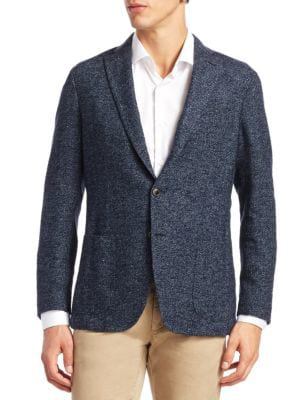 Saks Fifth Avenue Collection Herringbone Suit Jacket In Blue