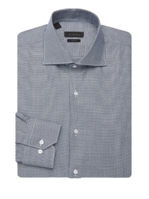 Saks Fifth Avenue Collection Printed Dress Shirt In Navy White