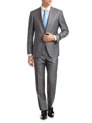 Saks Fifth Avenue Collection By Samuelsohn Plaid Suit In Grey
