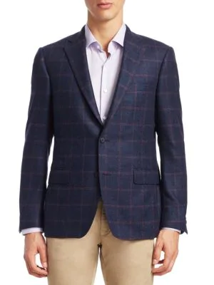 Saks Fifth Avenue Collection By Samuelsohn Windowpane Plaid Wool Sportcoat In Blue