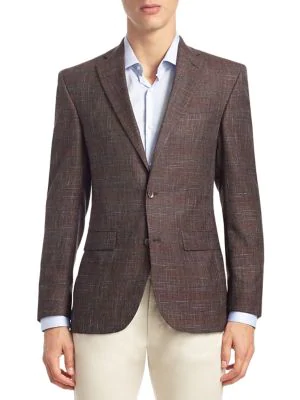 Saks Fifth Avenue Collection Textured Wool Sportcoat In Red