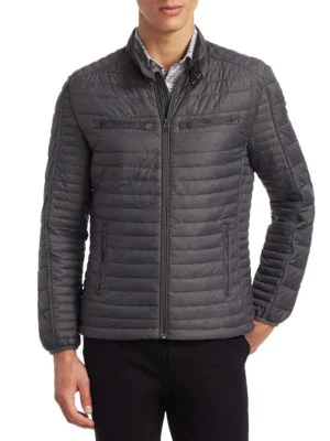 Saks Fifth Avenue Modern Quilted Body Puffer In Fog