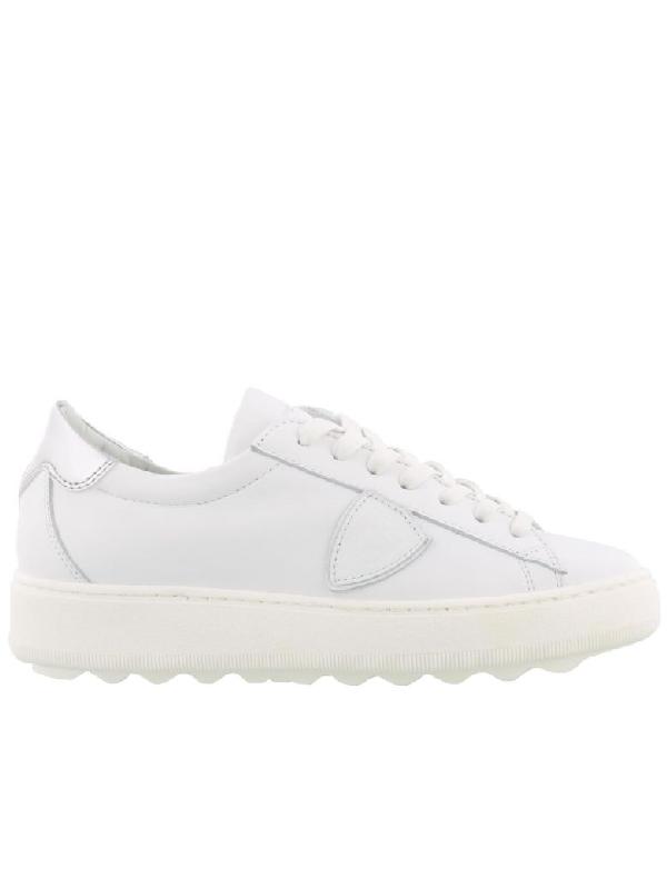 Philippe Model Madeleine Sneaker In Blanc-argent