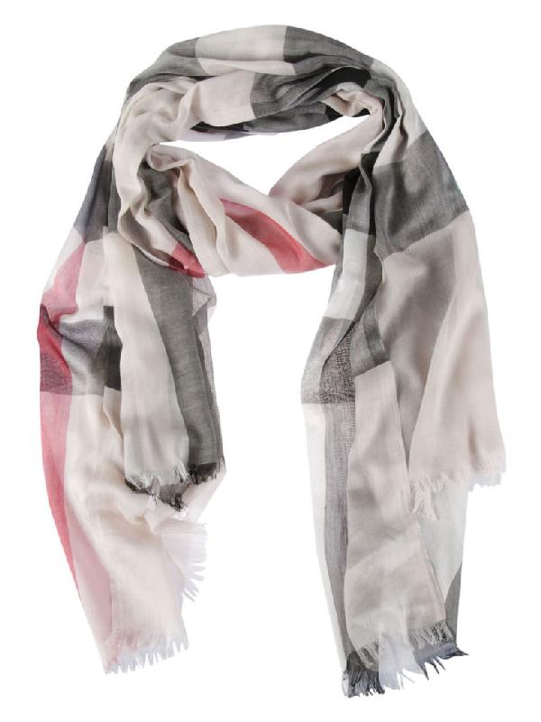 Burberry Striped Scarf In Grey