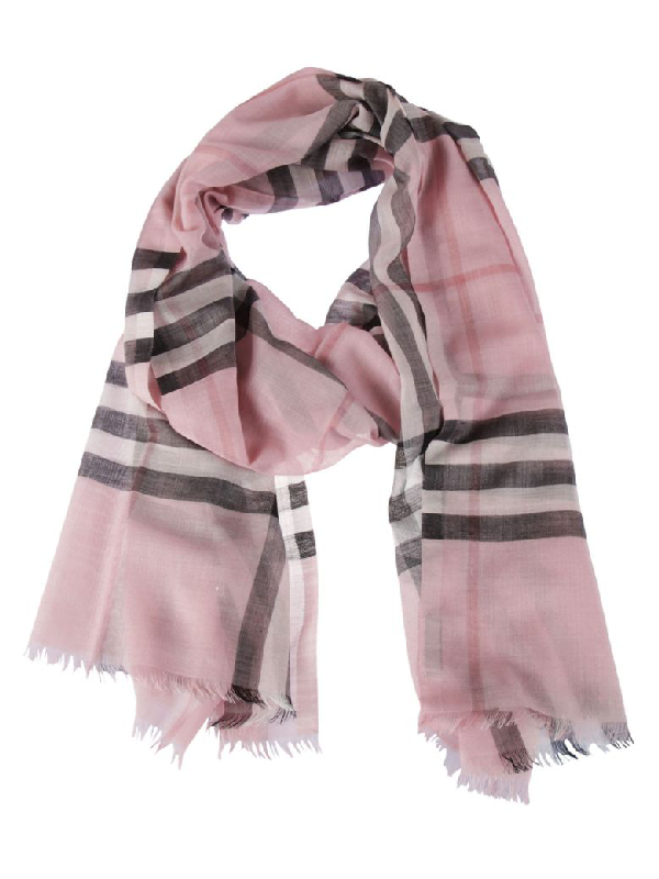 Burberry Striped Scarf In Pink & Purple