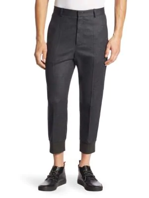Solid Homme Tapered Wool-blend Trousers In Black