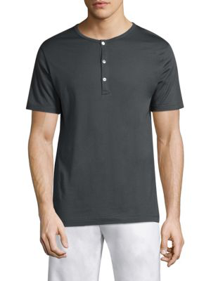 Sunspel Short-sleeve Classic Henley In Charcoal
