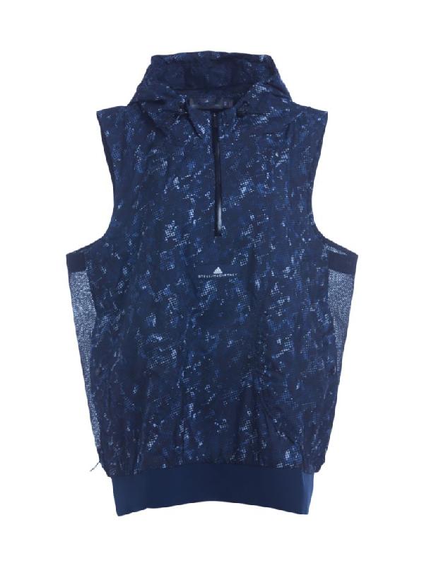 Stella Mccartney Adidas By  Run Adizero Blue Technical Gilet With Hood