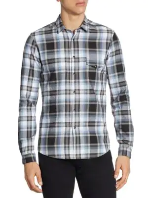 The Kooples Heathered Check Button-down Shirt In Multi