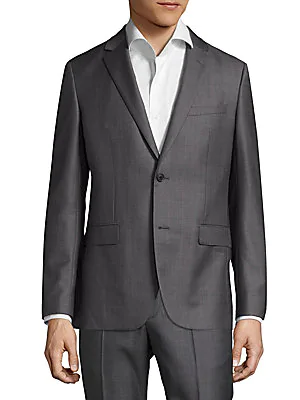 Theory Slim-fit Dobby Wool Suiting Blazer In Charcoal Multi