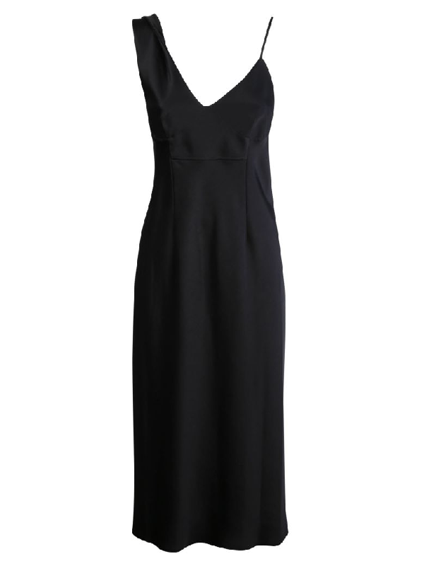 Alexander Wang Asymmetric Slip Dress In Black