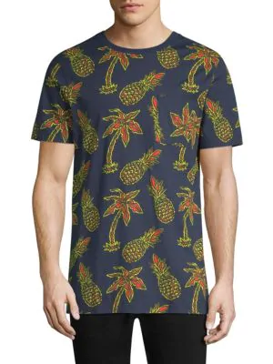 Wesc Maxwell Pineapple All Over Print Graphic Cotton T-shirt In Pineapple Navy