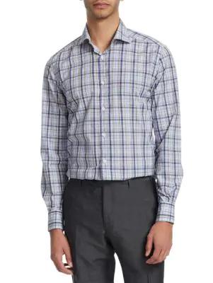 Corneliani Plaid Cotton Button-down Shirt In Navy